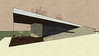 Sloping Wall house